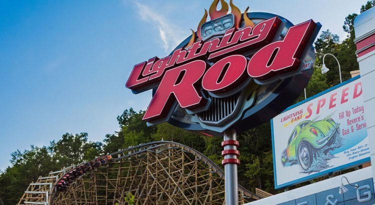 The entrance sign to Dollywood's newest wooden coaster, Lightning Rod