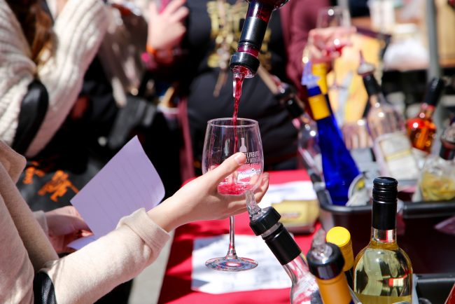 Wine sample being poured into a wine glass at the Gatlinburg Wine Fest