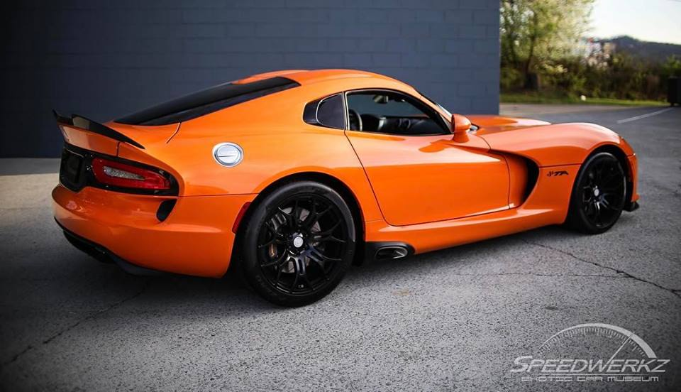 image of a bright orange Dodge Viper at Speedwerkz Exotic Car Museum