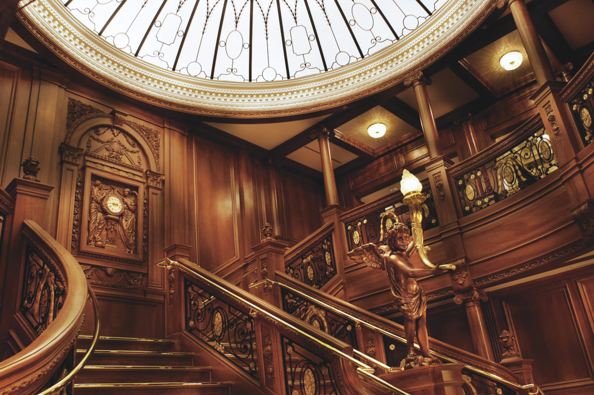 Lifelike recreation of the RMS Titanic grand staircase at the Titanic Museum Attraction in Pigeon Forge