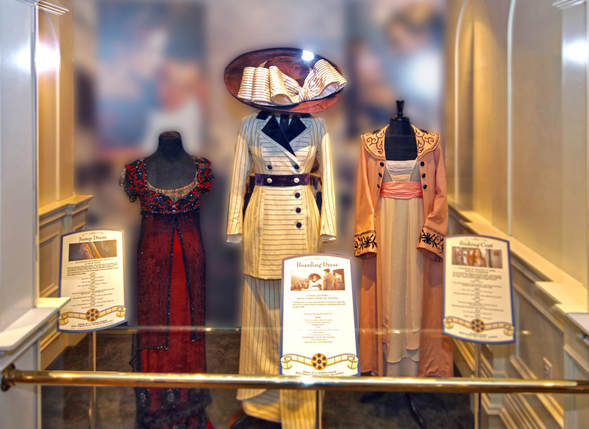 Kate Winslet's dress in the opening scene of Titanic displayed at the Titanic Museum Attraction