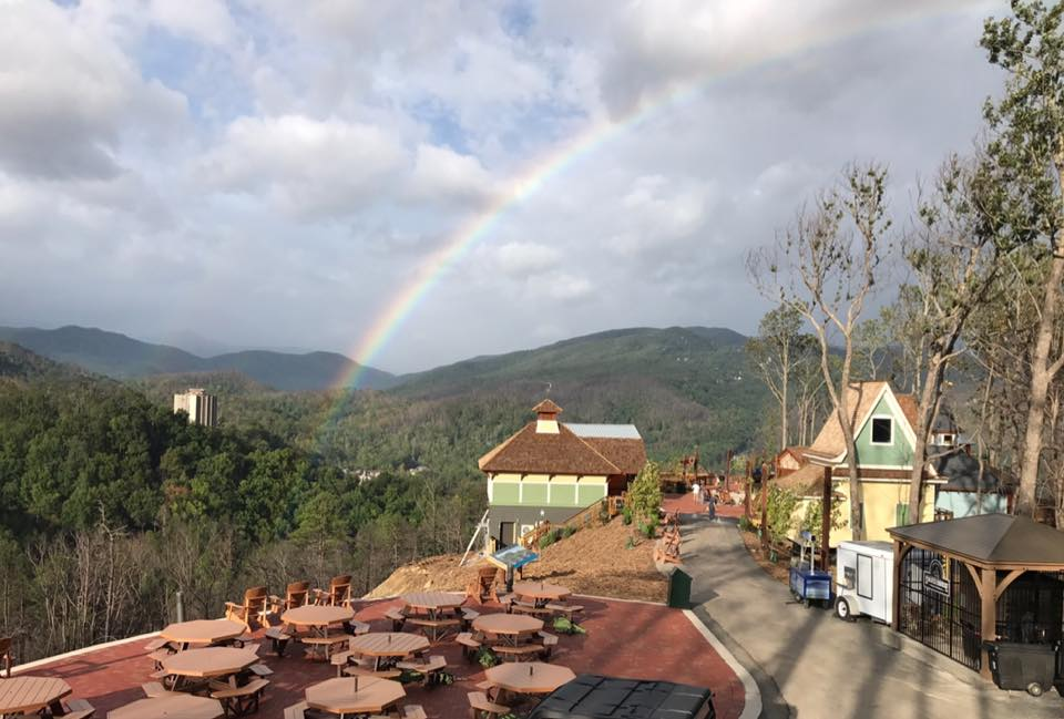 rainbow occurring over Anakeesta firefly village